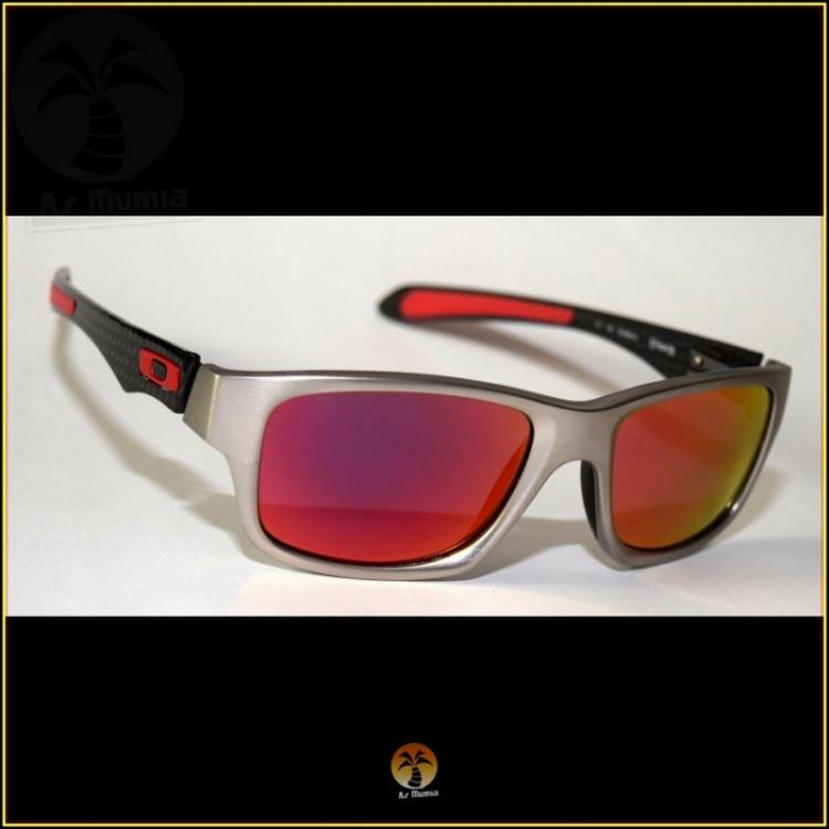 Óculos de Sol Oakley Jupiter Carbon Prata Lentes Vermelhas Polarizadas